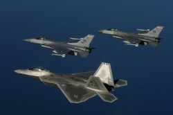 F 22 Raptor and F 16 Fighting Falcon