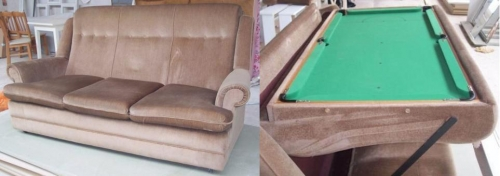 Sofa and Pool Table Transforming Furniture