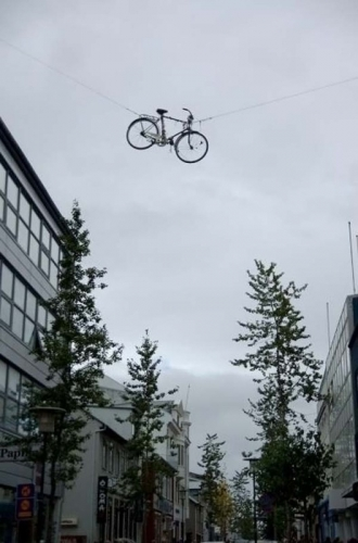 Bike on wire