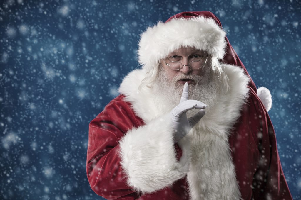 Real Santa With Finger to Lips